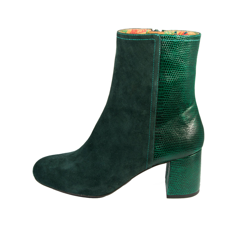 Jean green suede and embossed leather block heel ankle boot by Designer Miss L Fire. Small batch production, Made in Italy.