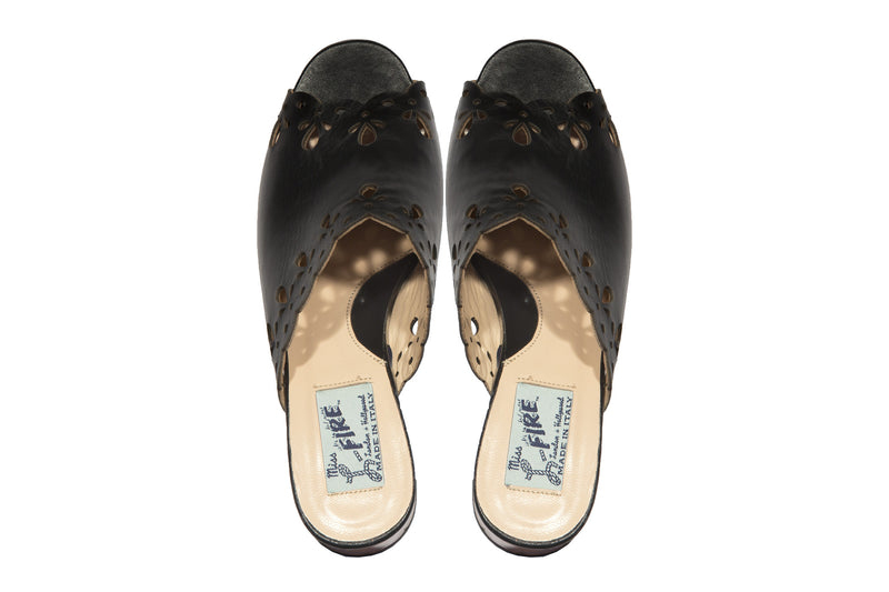 Joanna Black mules with transparent amber heel - LAST PAIRS