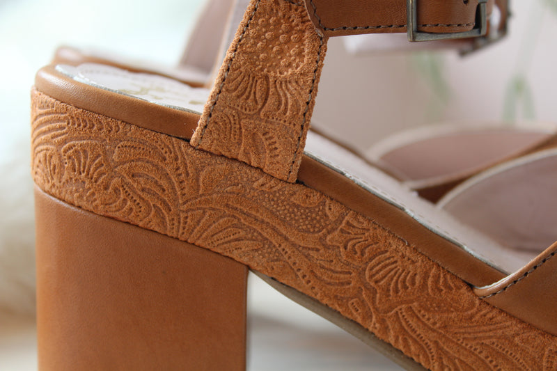 Juanita Tan Tooled Leather Platform Heel