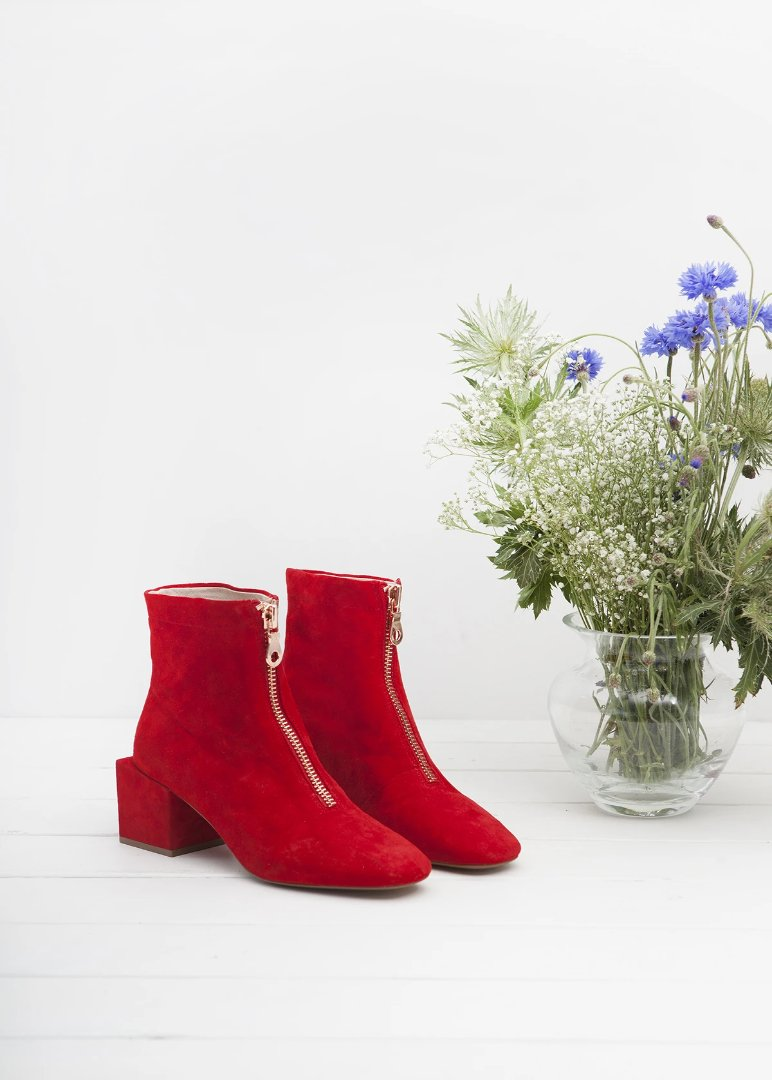 June Scarlet red zip up ankle bootie.