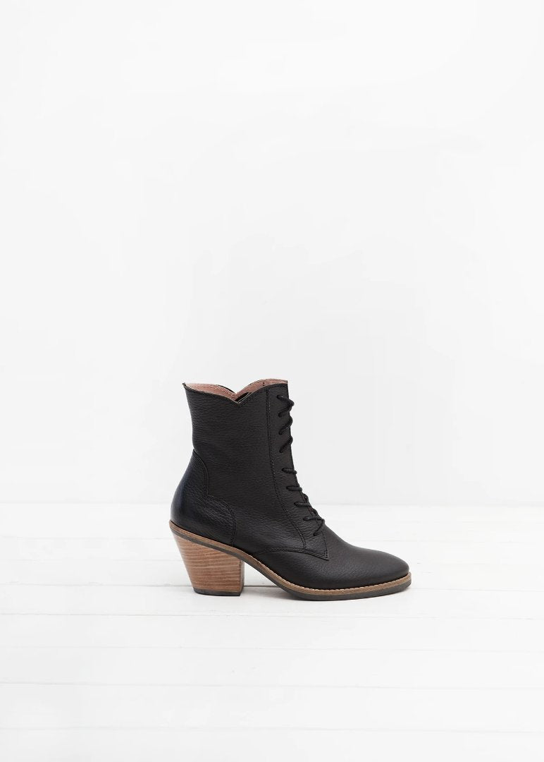 Kate black lace up ankle boot