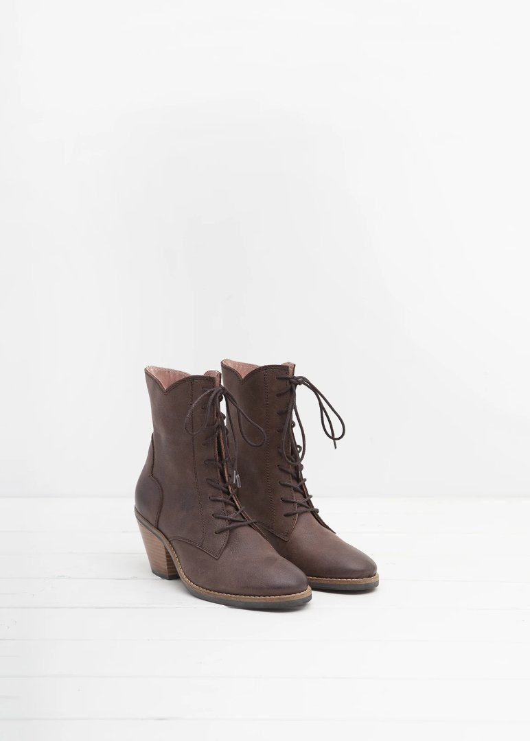 Kate Chocolate Brown lace up ankle boot