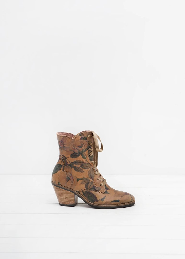 Kate Floral Print Leather lace up ankle boot - LAST PAIRS
