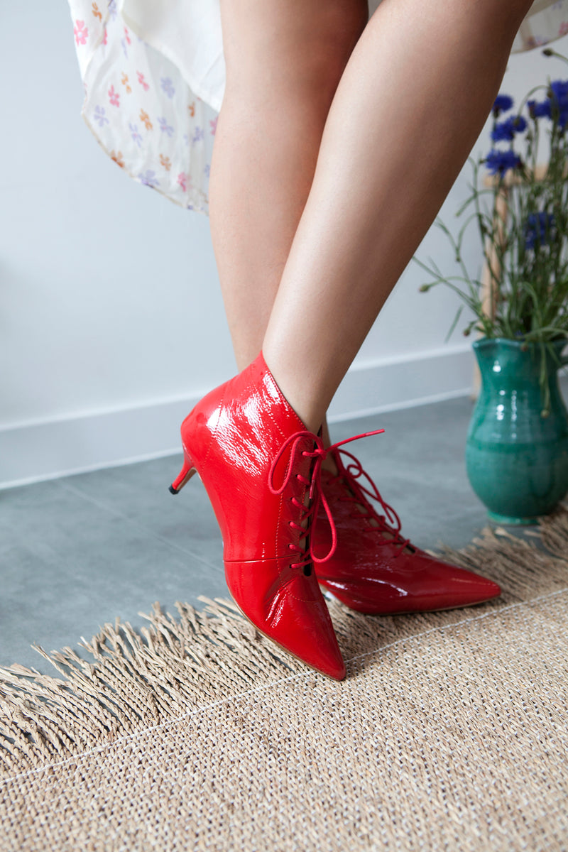 Kitty red patent lace up ankle boots with pointed toe by Designer Miss L Fire