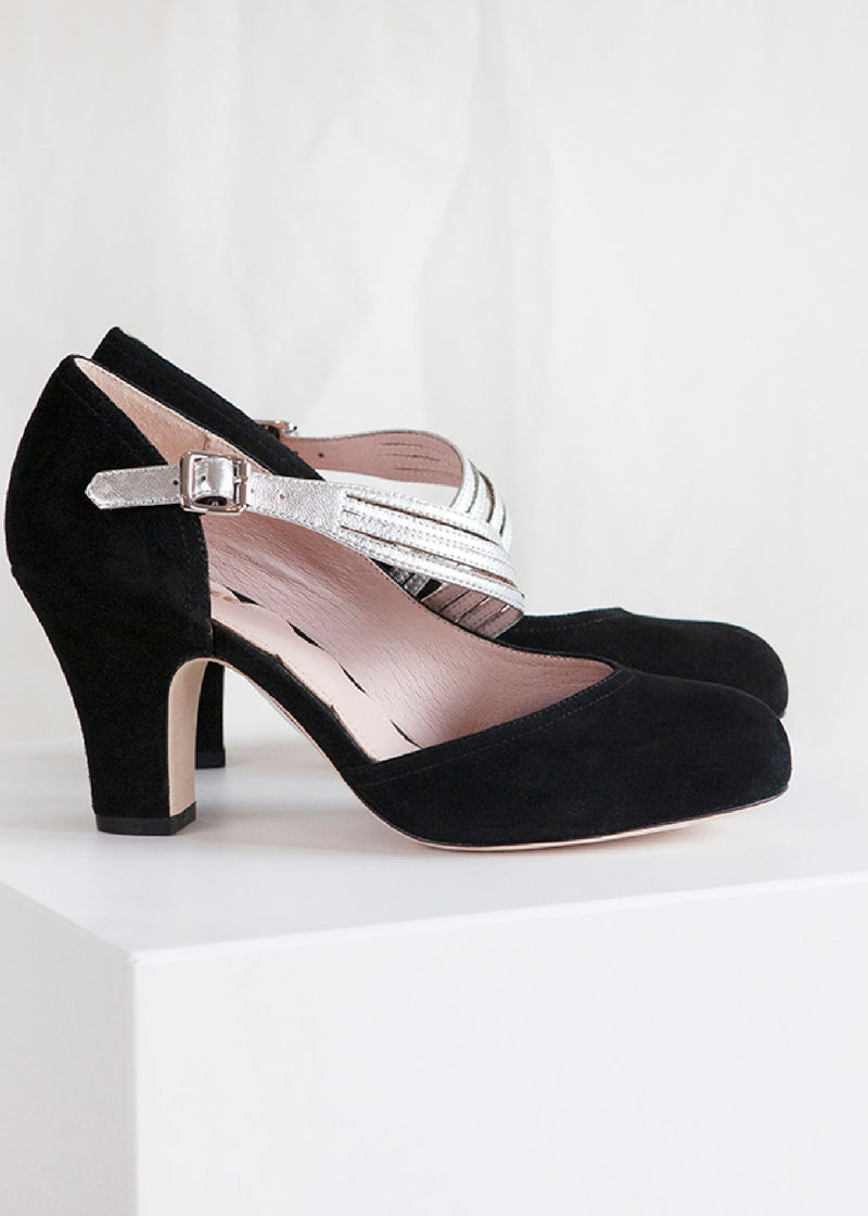 Lana Black D'orsay Cut Pump with Asymmetric Strap