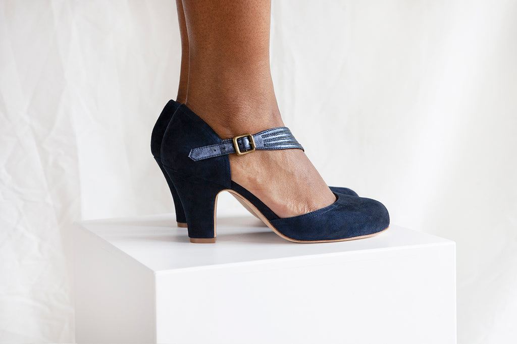 Lana Blue Suede D'orsay Cut Pump with Asymmetric Strap