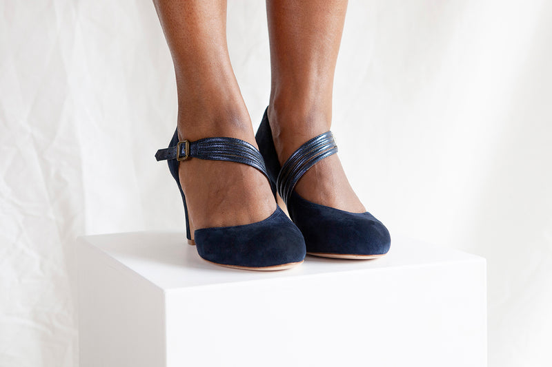 Lana Blue Suede D'orsay Cut Pump with Asymmetric Strap - LAST PAIRS