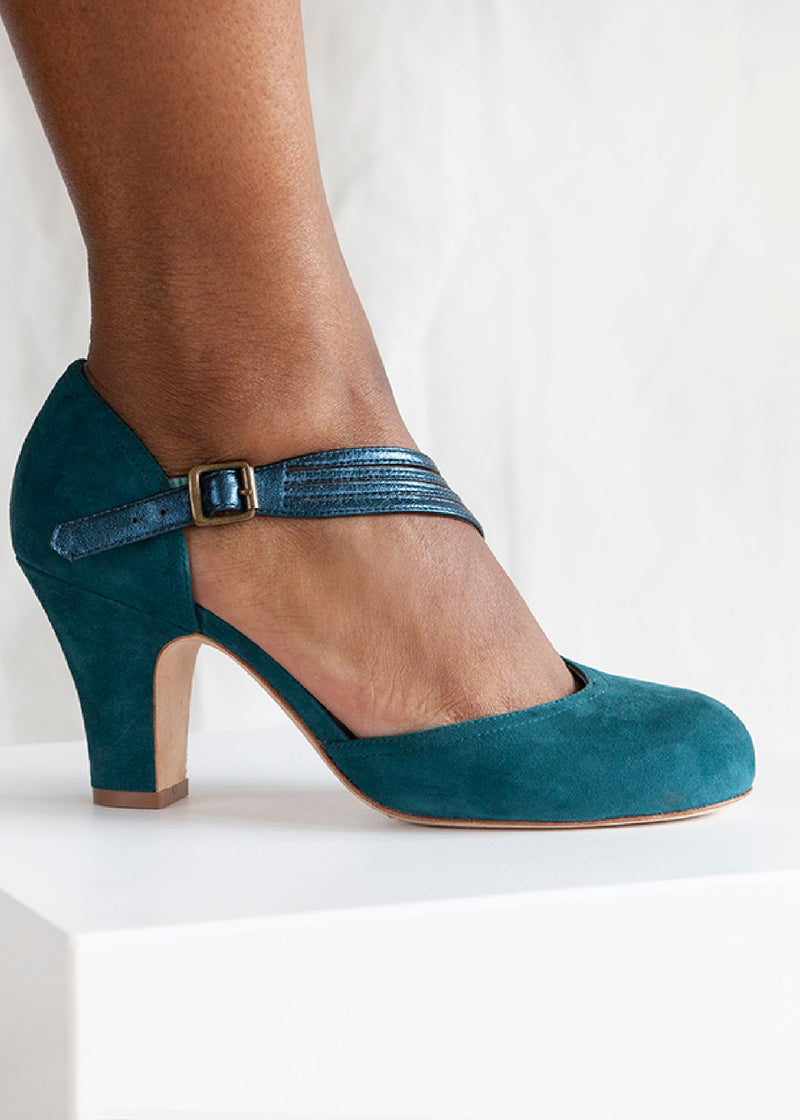 Lana Teal Suede D'orsay Cut Pump with Asymmetric Strap