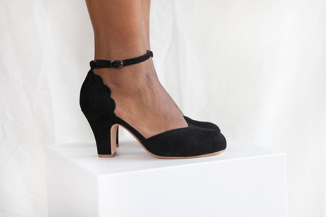 Layla is a black suede two part heeled shoe with adjustable ankle strap by Miss L Fire. Vintage inspired, ethically produced.