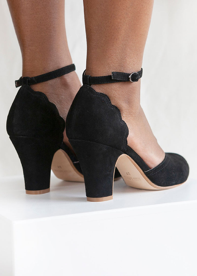 Layla Black Suede Ankle Strap Heel - LAST PAIRS