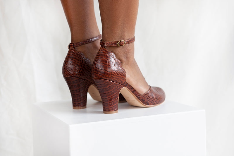 Layla Chocolate Croc Ankle Strap Heel