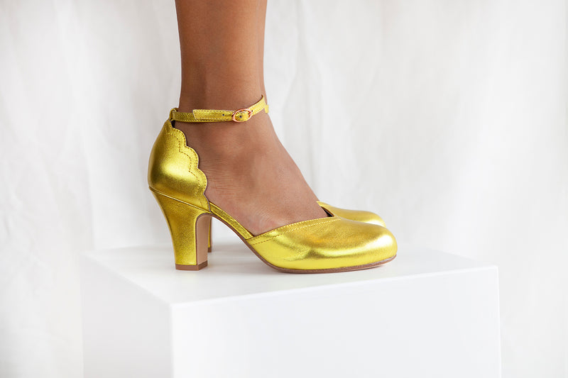 Layla vintage inspired two part shoe by Miss L Fire in Oscar Gold. Small batch, ethically produced.