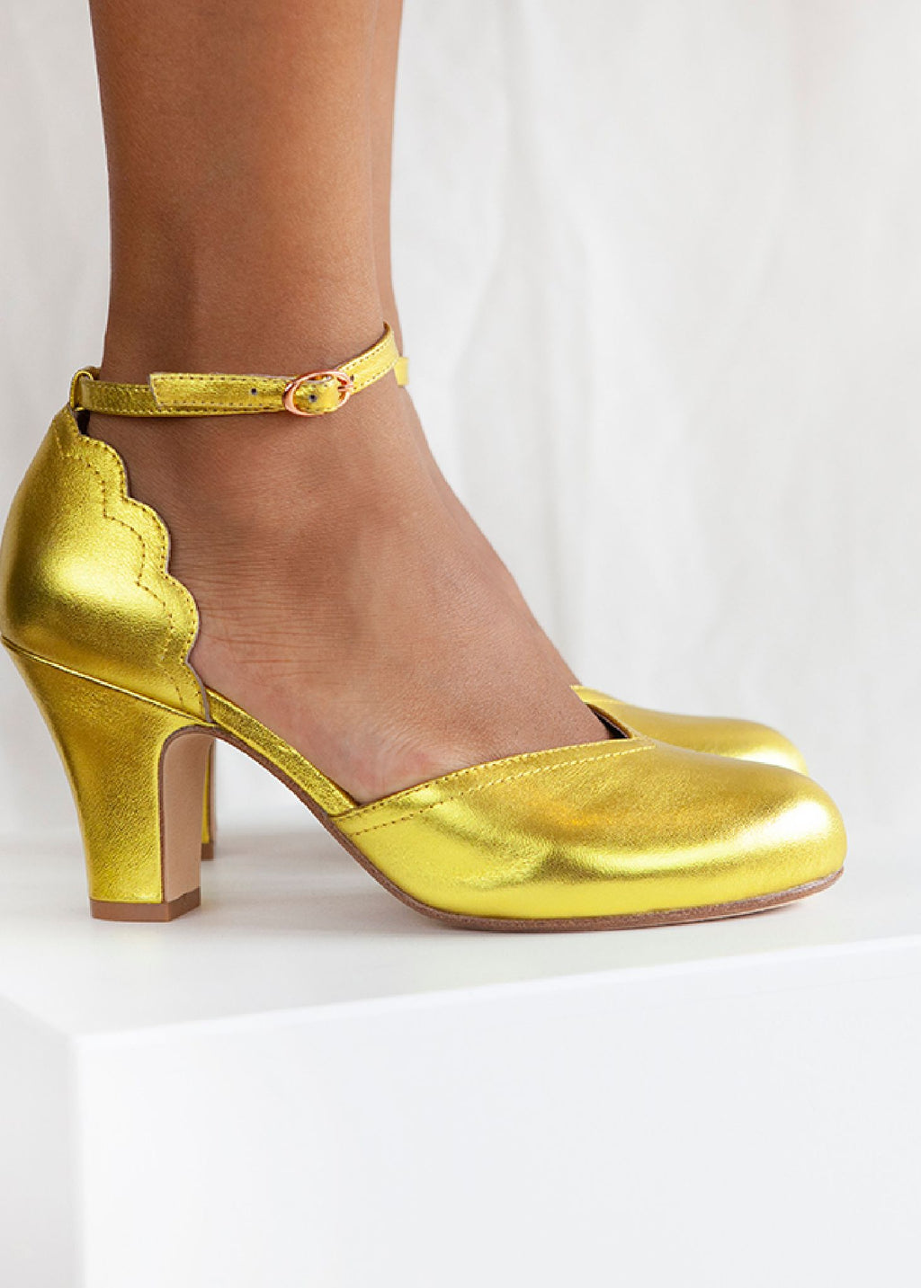 Layla Gold Leather Ankle Strap Heel