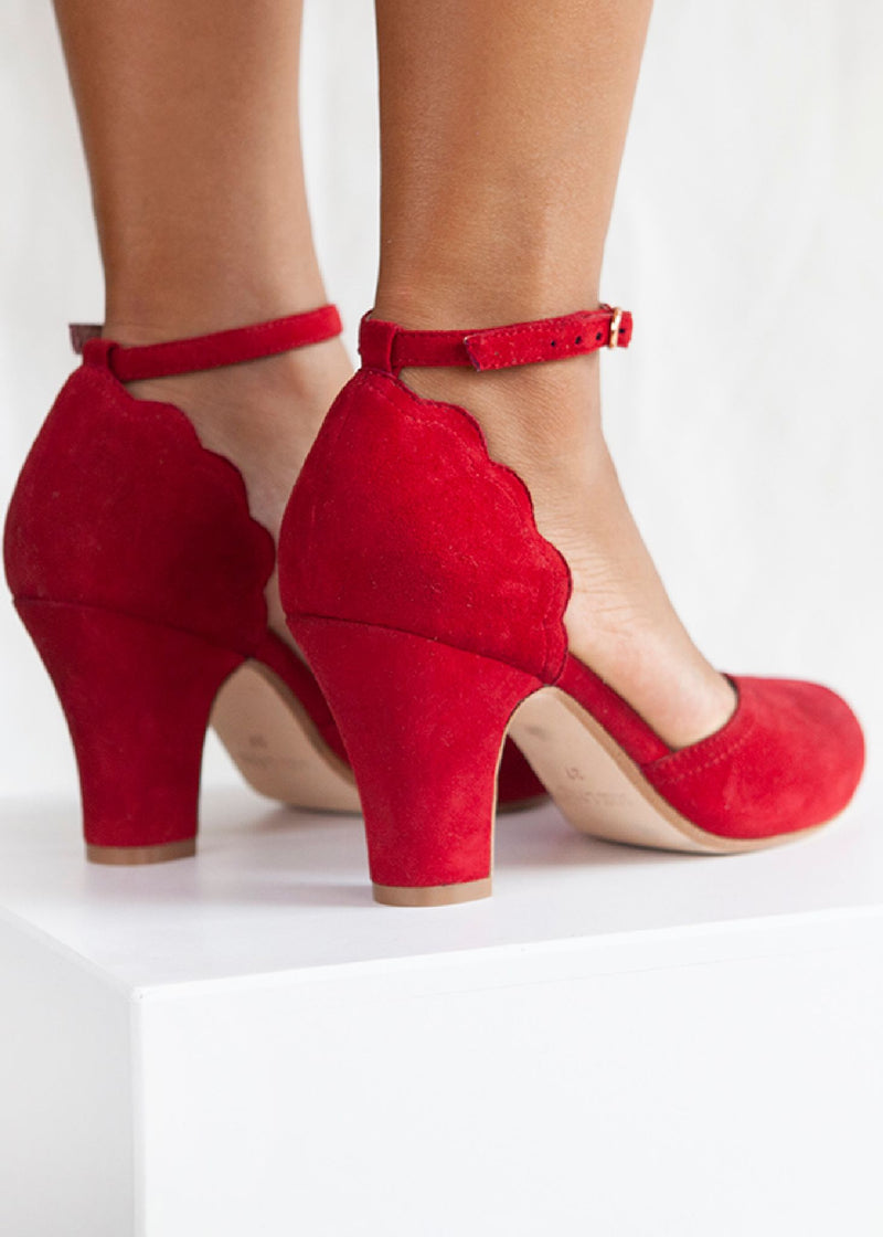 Layla Red Suede Ankle Strap Heel