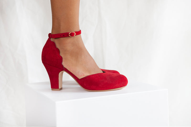 Layla vintage inspired two part shoe by Miss L Fire in ruby red suede. Small batch, ethically produced.