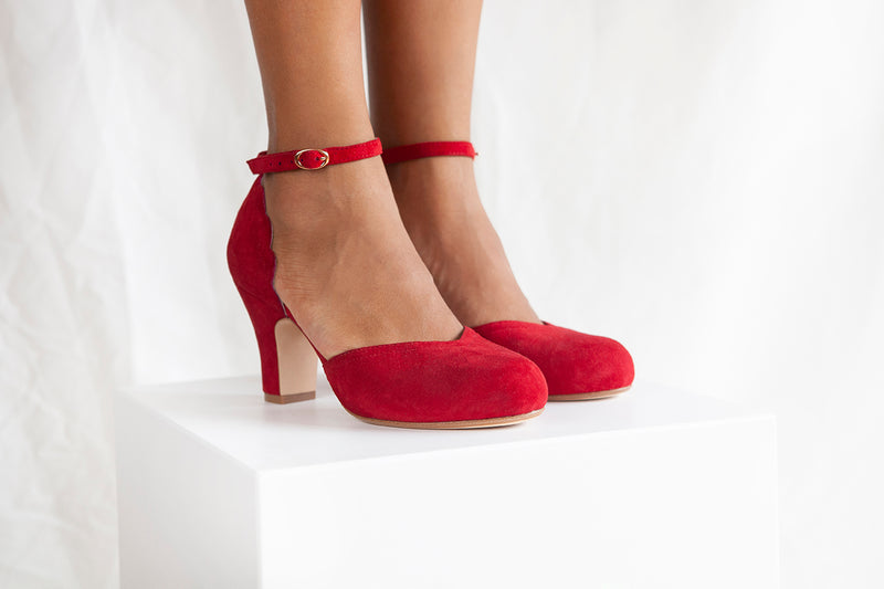 Layla is a ruby red suede two part heeled shoe with adjustable ankle strap by Miss L Fire. Vintage inspired, ethically produced.