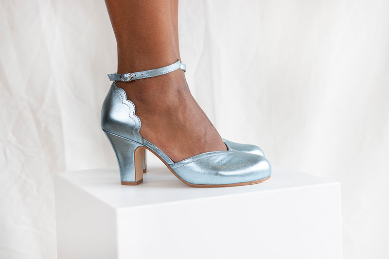 Layla vintage inspired two part shoe by Miss L Fire in sky blue metallic leather. Small batch, ethically produced.