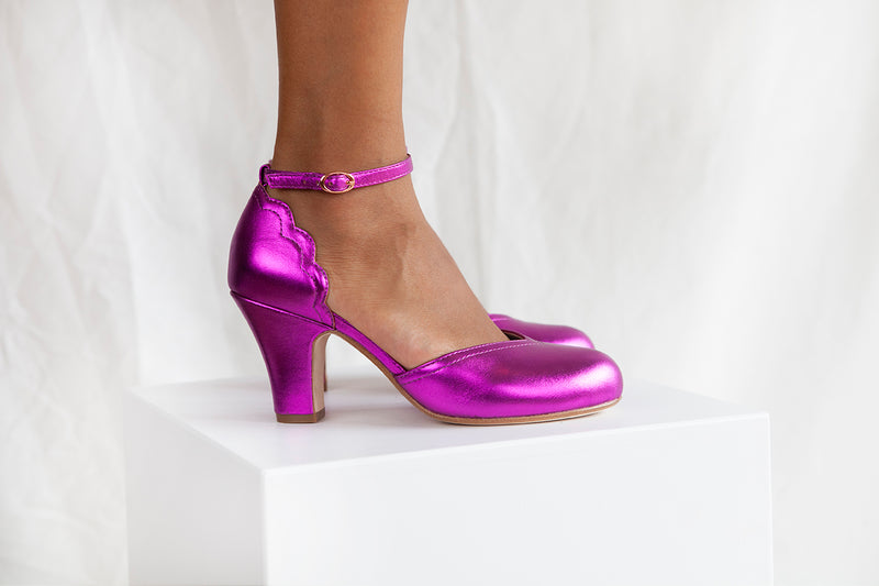 Layla vintage inspired two part shoe by Miss L Fire in violet metallic leather with adjustable ankle strap. Small batch, ethically produced.