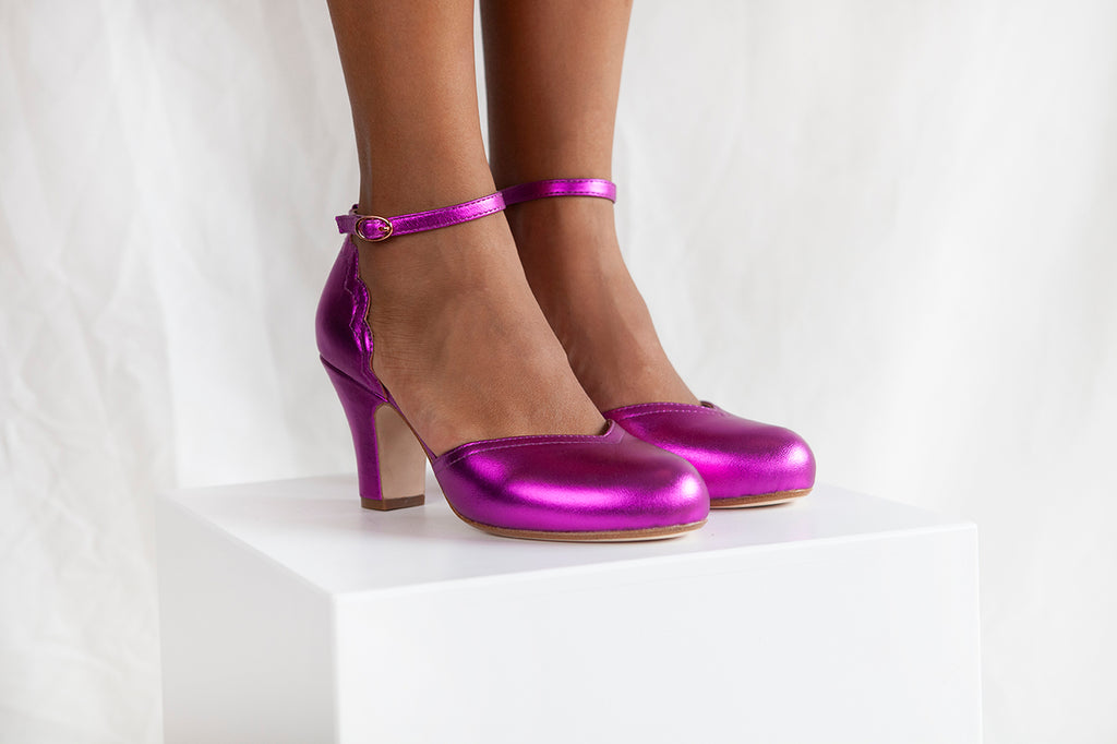 Layla , by Miss L Fire is a 2 part shoe with an 8cm heel and adjustable ankle strap, in stunning violet metallic leather. Vintage inspired, small batch production.