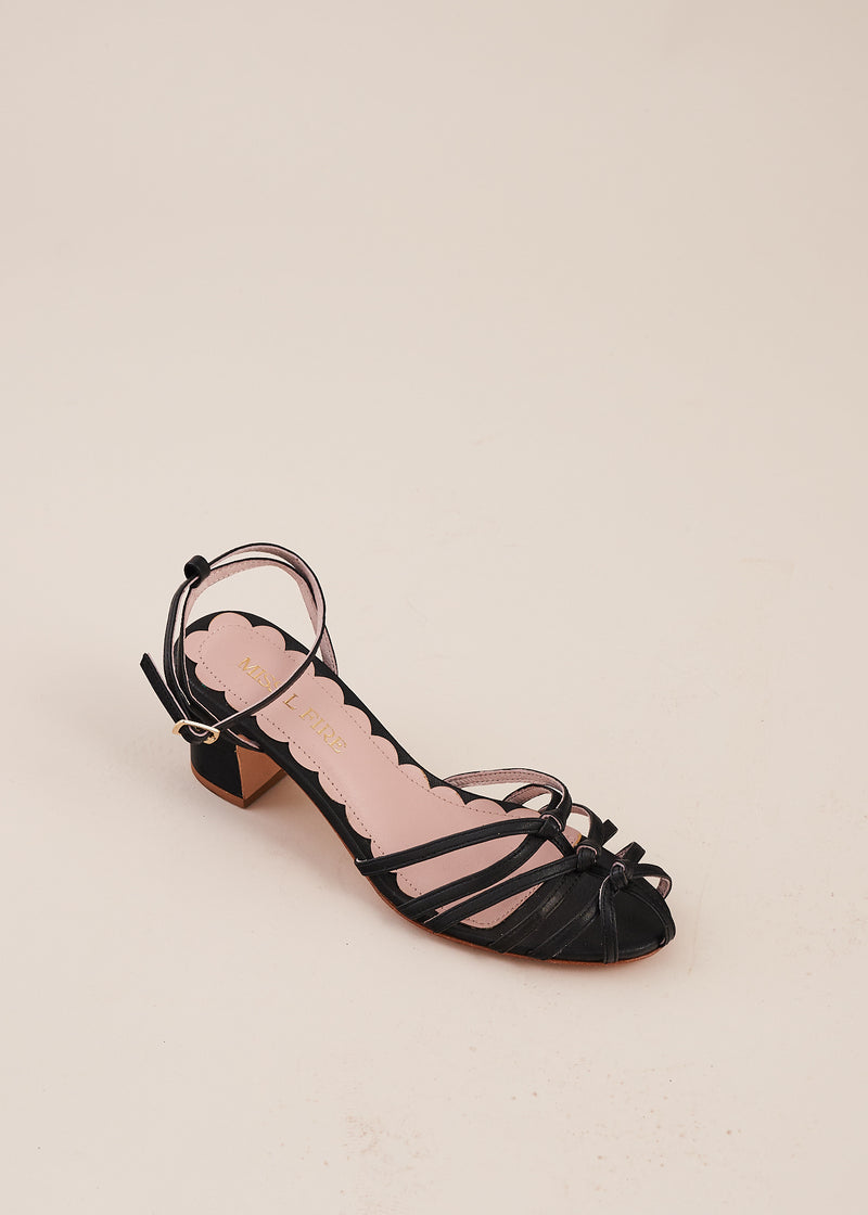 Lois Black Strappy Knot Heeled Sandal