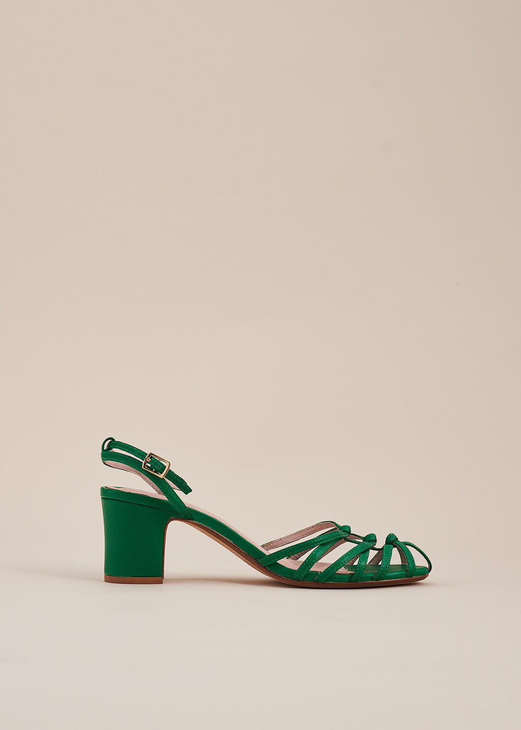 Lois by Miss L Fire is a strappy knotted upper sandal in Kelly green leather by  Miss L Fire. Perfect bridesmaid sandal. Small batch, ethically produced.