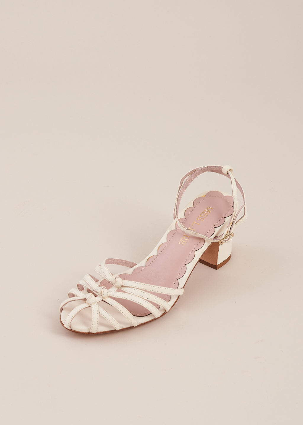 Lois White Strappy Knot Heeled Sandal