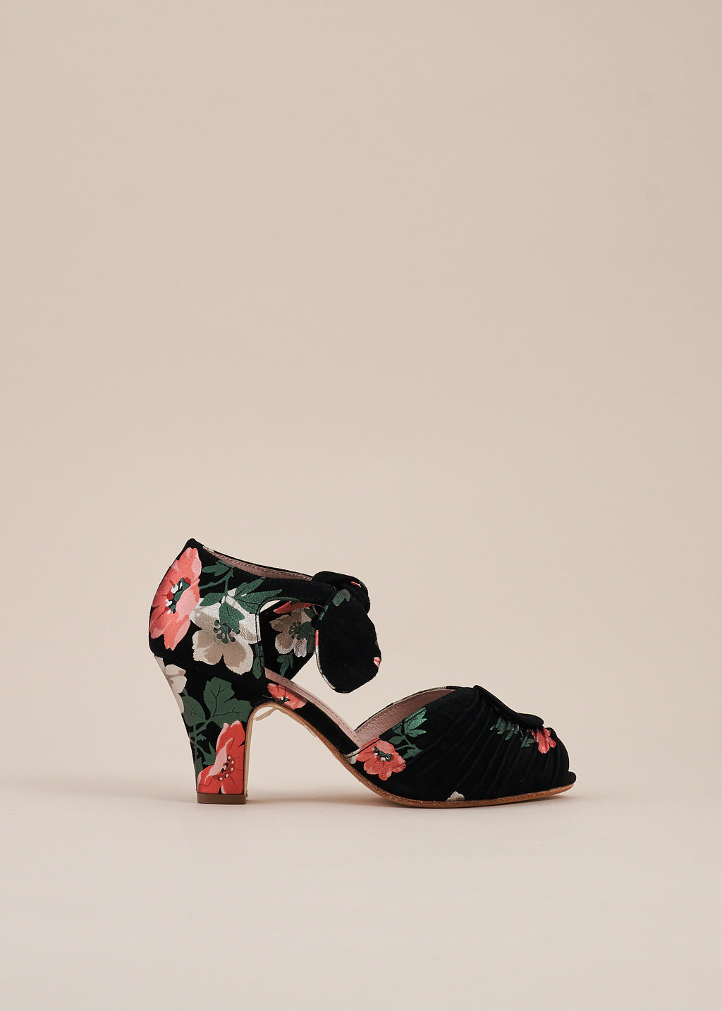 Loretta Black floral Luxe Ruched Peep Toe Heel