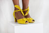 Loretta Yellow Luxe Ruched Peep Toe Heel