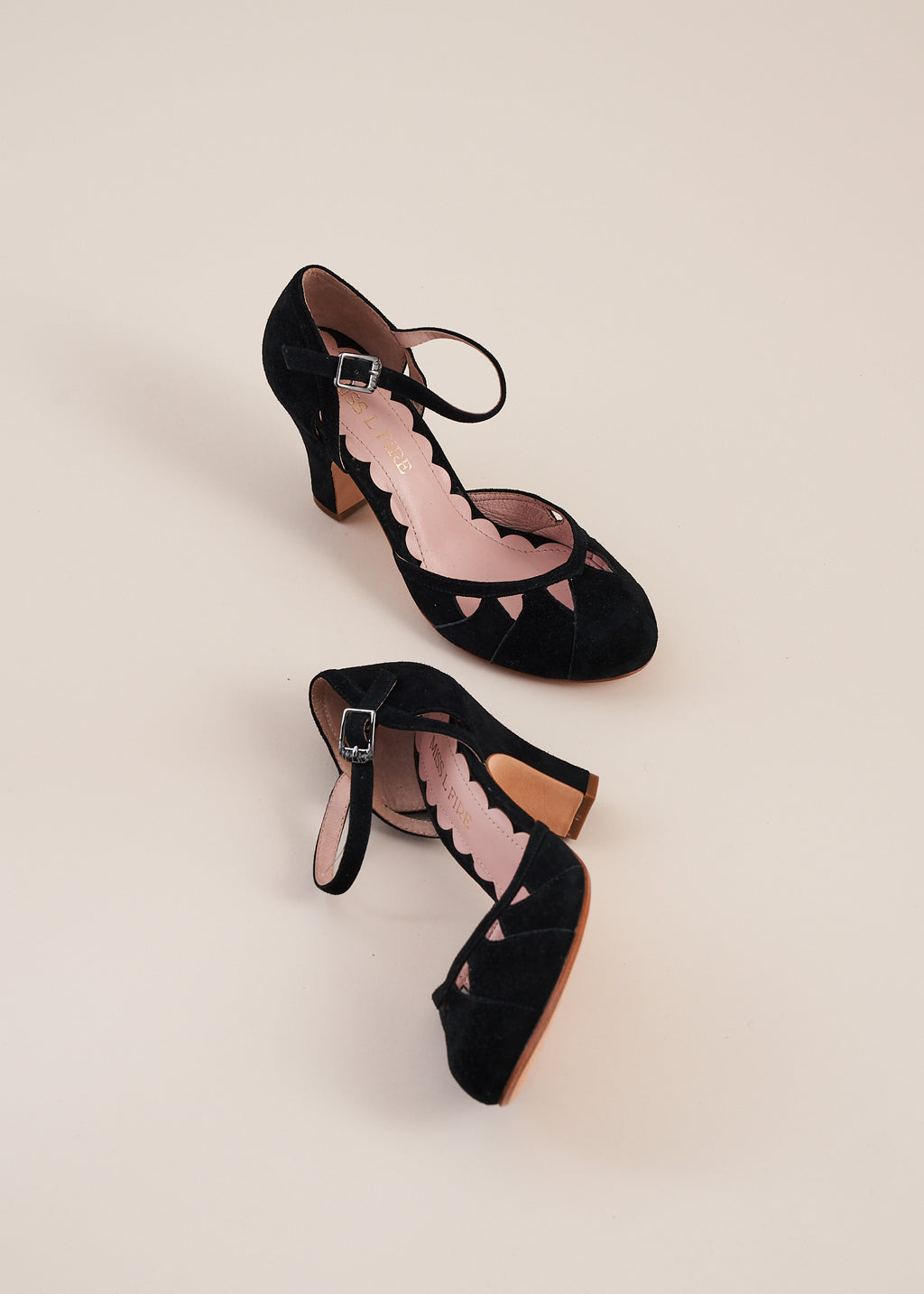 Lucie black suede multi panelled bar shoe by Miss L Fire. Vintage inspired, ethically produced.