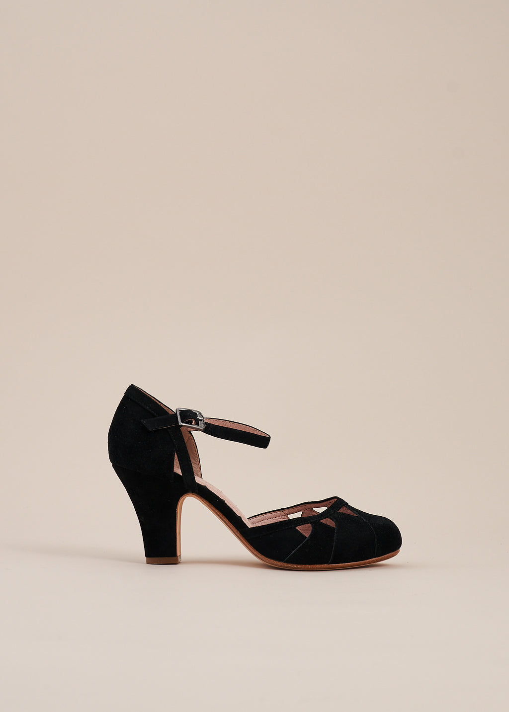 Lucie Black Suede Two Part Panelled Bar Shoe