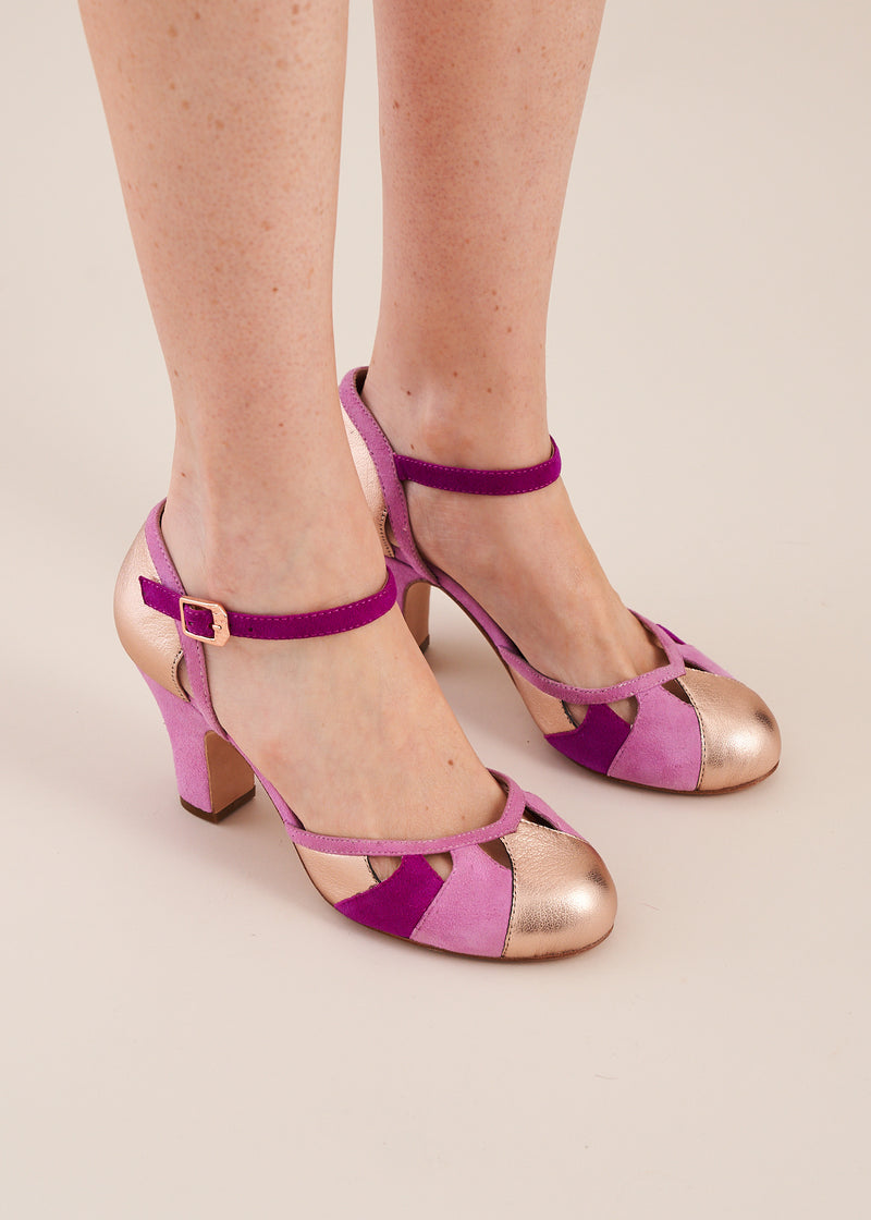 Lucie Copper and Violet Suede Two Part Panelled Bar Shoe