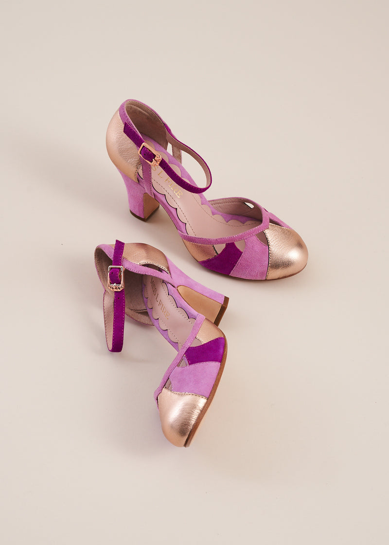 Lucie copper metallic and violet multi suede panelled bar shoe by Miss L Fire. Vintage inspired, ethically produced.