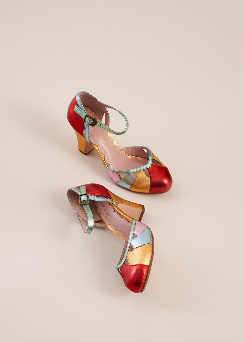 Lucie multi coloured metallic leather panelled bar shoe by Miss L Fire. Vintage inspired, ethically produced.