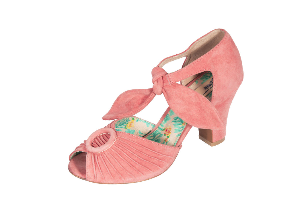 Loretta pink suede tie strap heeled ladies sandals by Miss L Fire