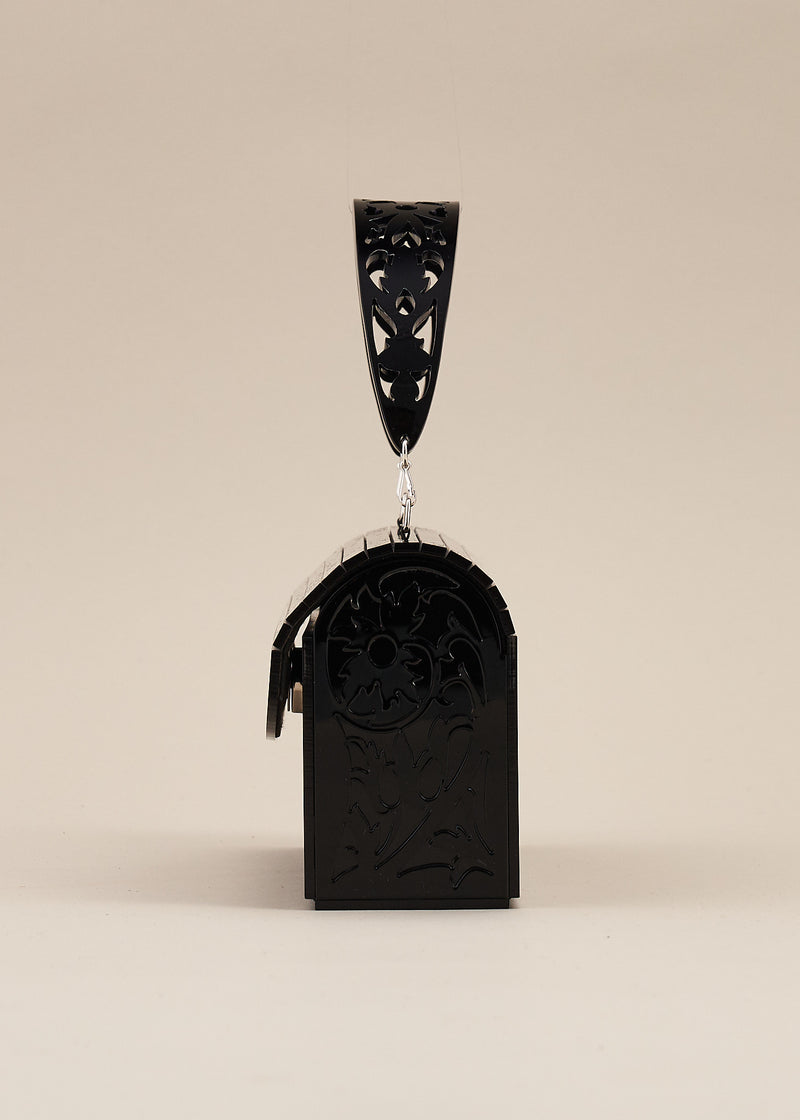 Francesca Black Carved Lucite Box Purse with Detachable Handle.