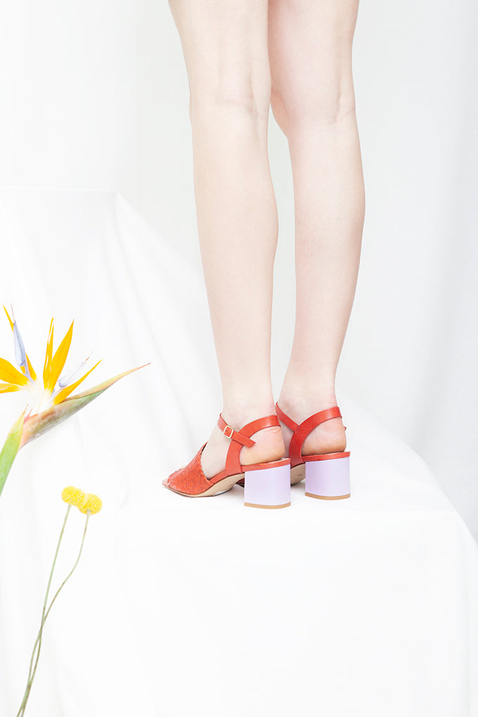 Miro Scarlet Red and Lilac Woven Block Heel