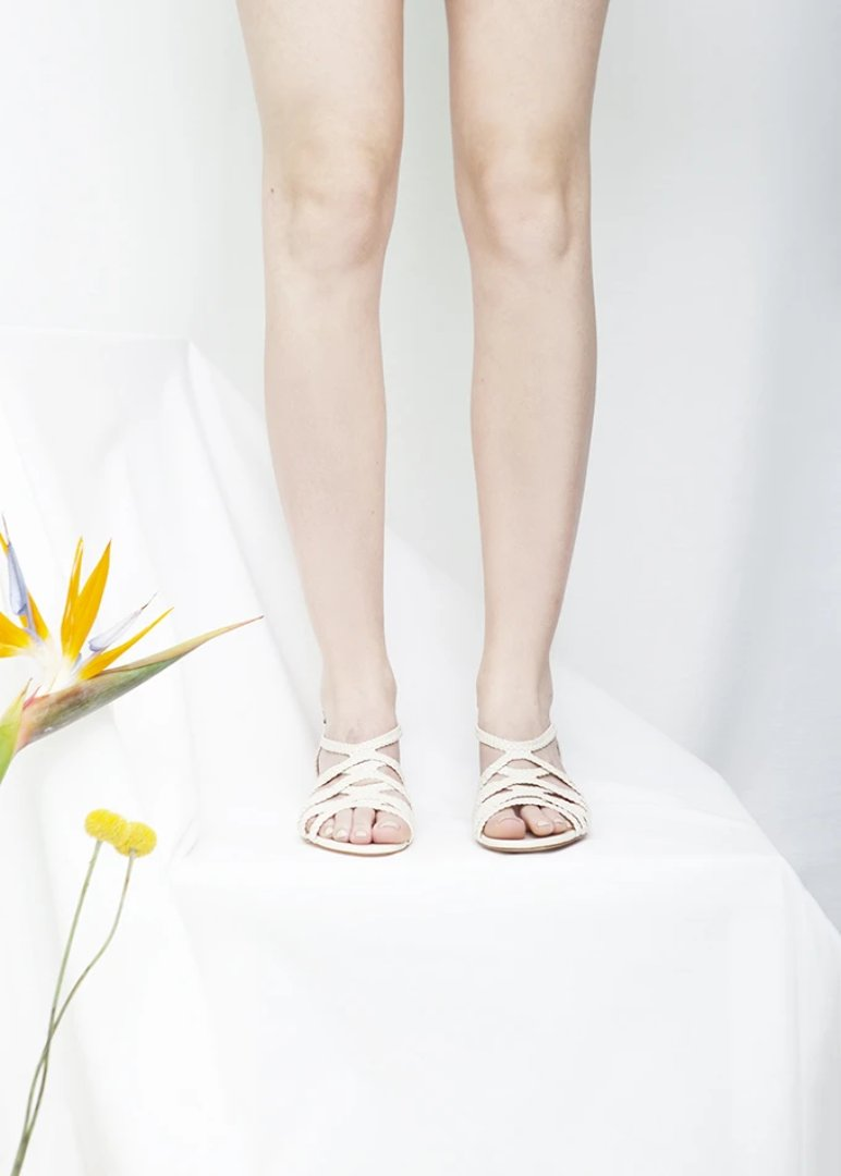 Clementine White Woven Low Heel Sandal