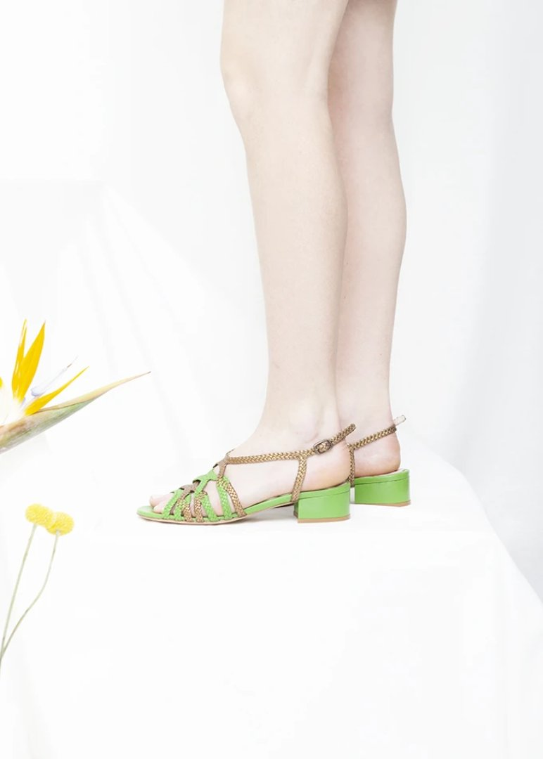Clementine Apple Green and Bronze Woven Low Heel Sandal