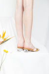 St.Tropez Natural and Gold Diamond Heel Mule