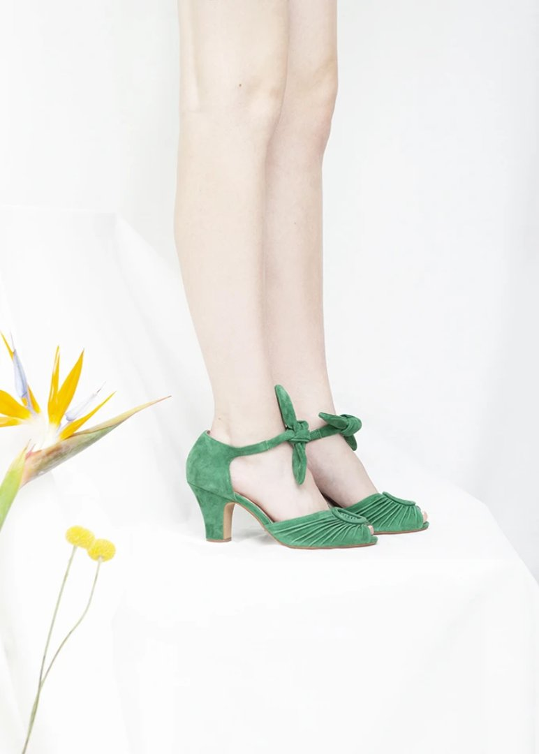 Loretta apple green peep toe suede sandal with ruched detail and tie straps. Vintage inspired, always ethically produced.