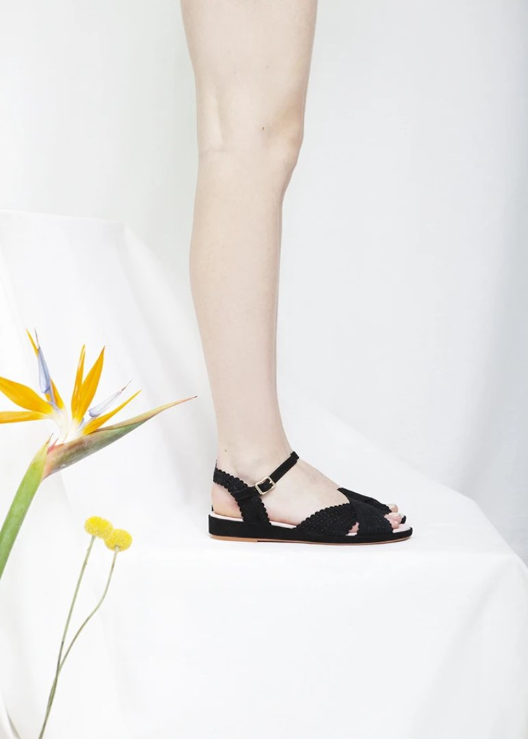 Brigitte Black Low Wedge Sandal