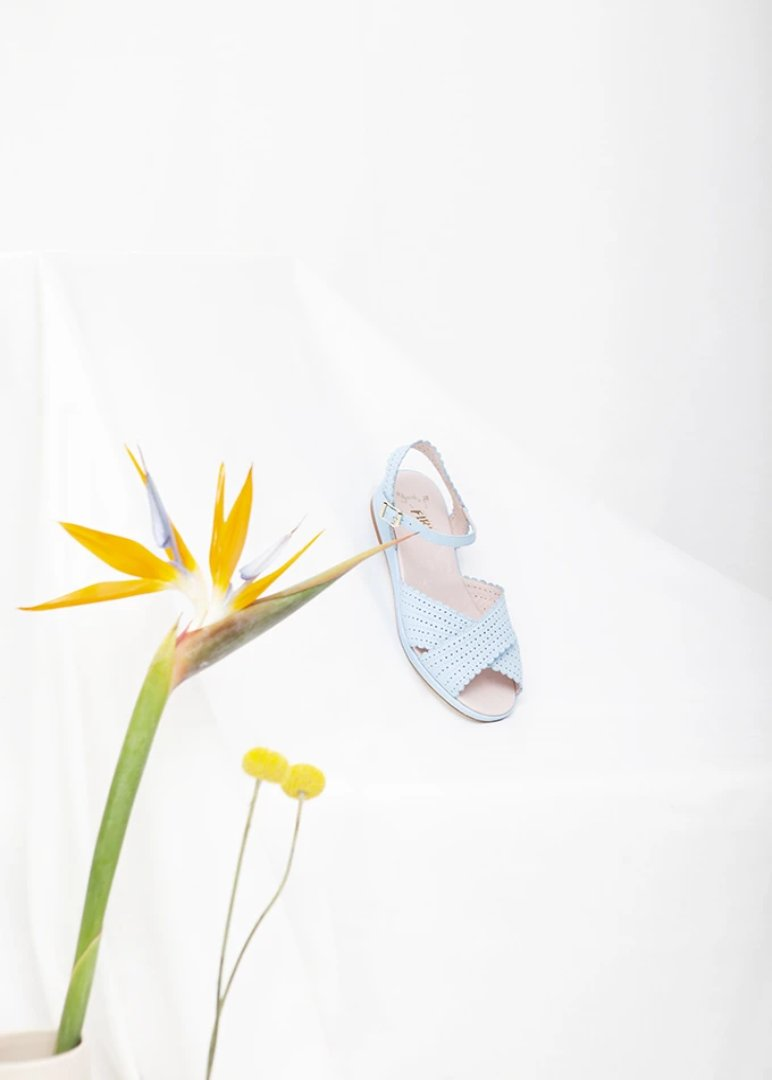 Brigitte Blue Low Wedge Sandal