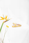 Brigitte Gold Low Wedge Sandal