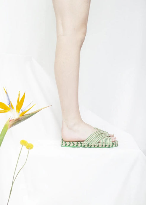 Boheme apple green espadrille pool slides by Miss L Fire