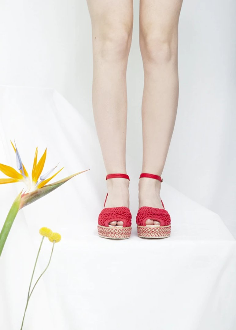 Toulouse Red Espadrille Sandal