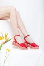 Toulouse Ruby Red wedge espadrille sandals. Vintage Inspired. Vegetarian friendly. By Designer Miss L Fire