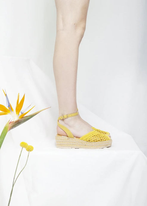 Toulouse yellow wedge espadrille sandal with lattice mesh upper. Vegetarian sandals by Miss L Fire.