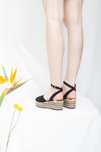 Toulouse black and natural wedge espadrille sandals. Vintage inspired. By Miss L Fire