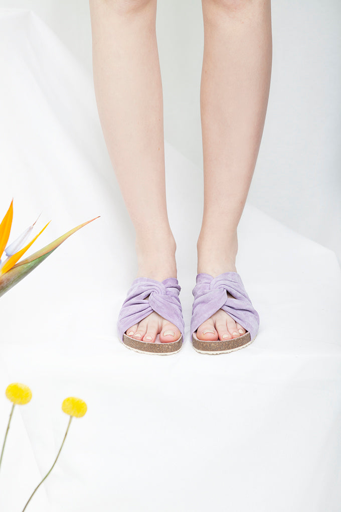 Lara lilac twisted suede summer sandal on a comfortable footbed sole by Designer Miss L Fire