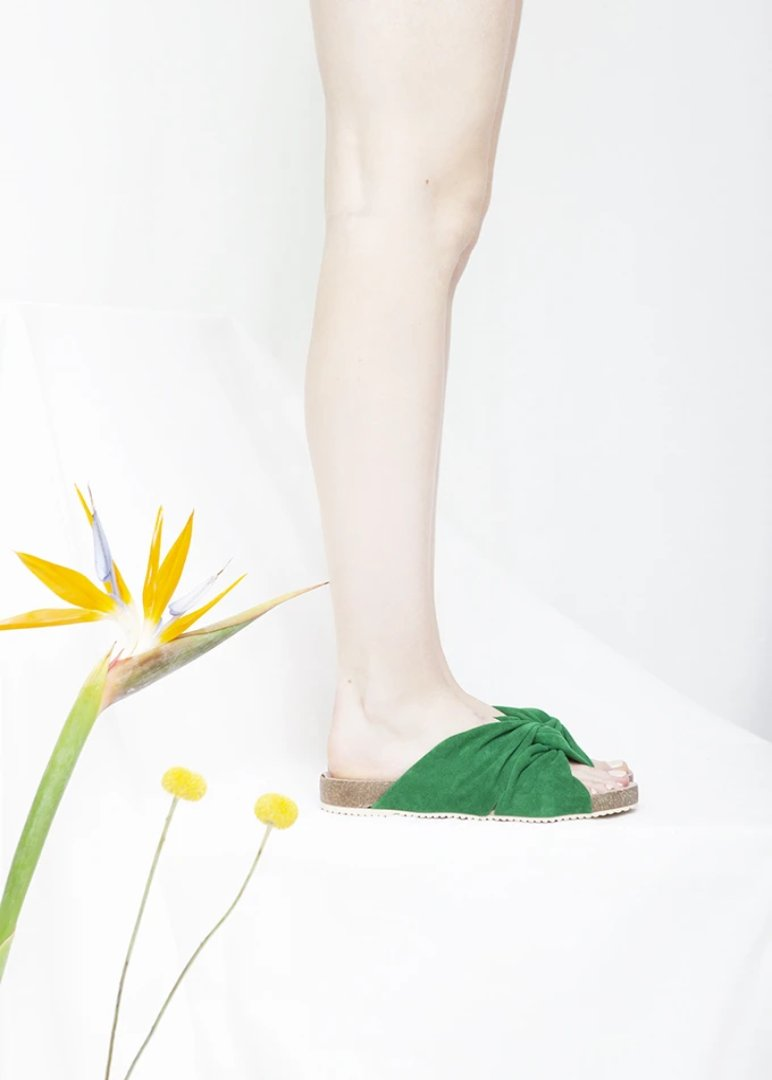 Lara Green Suede Footbed Sandal